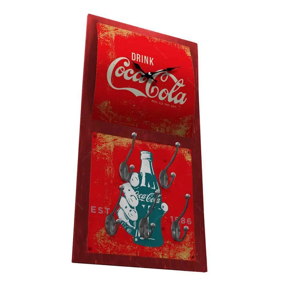 Relógio De Parede Coca-Cola Hand Bottle Vermelho Com Ganchos - Urban