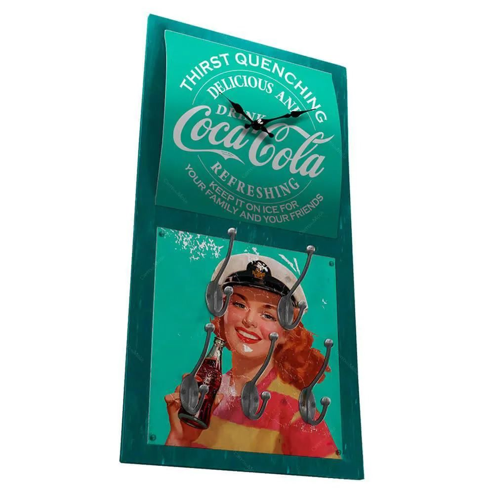 Relógio De Parede Coca-Cola Pin-Up Brown Lady Com Ganchos Verde - Urban
