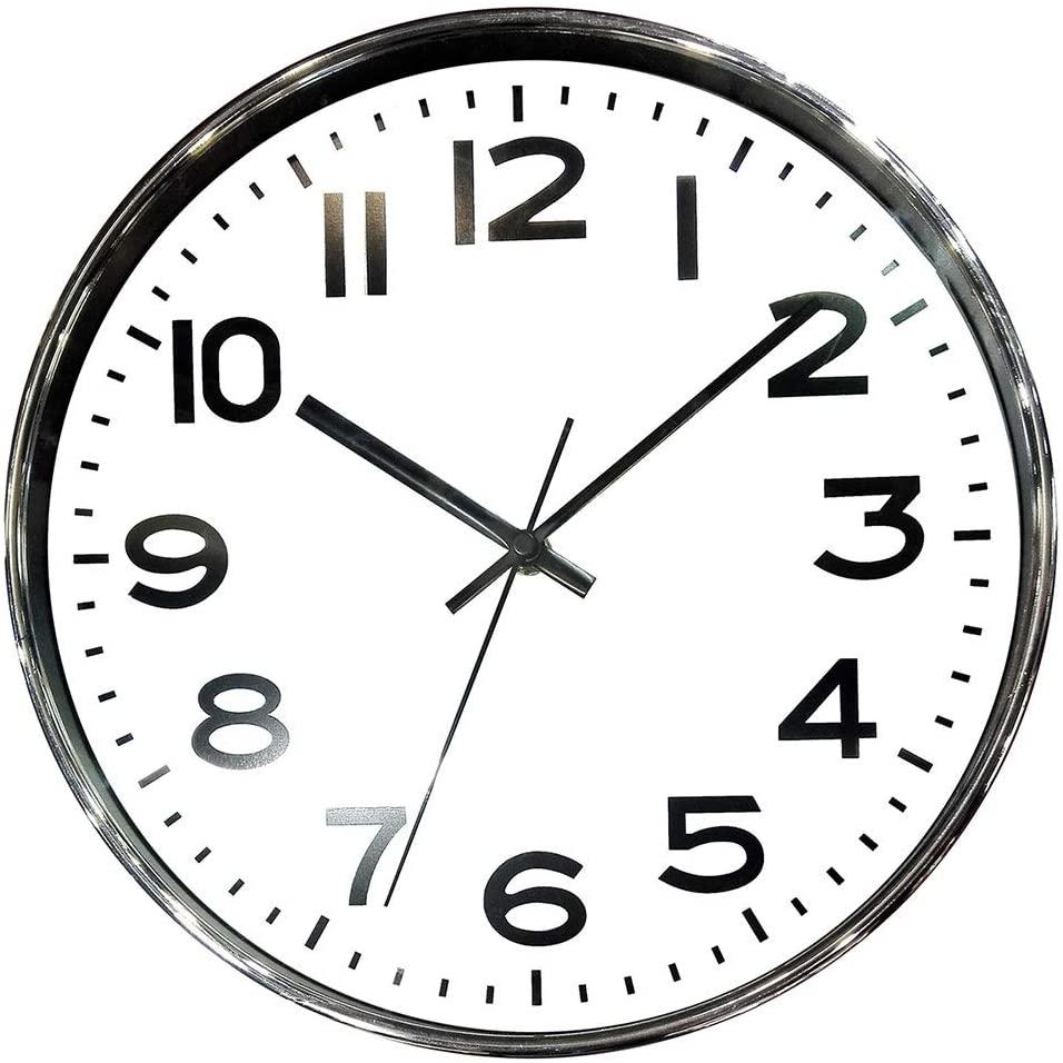 Relógio NUMERAIS plastico diâm 35 cm (cromado)