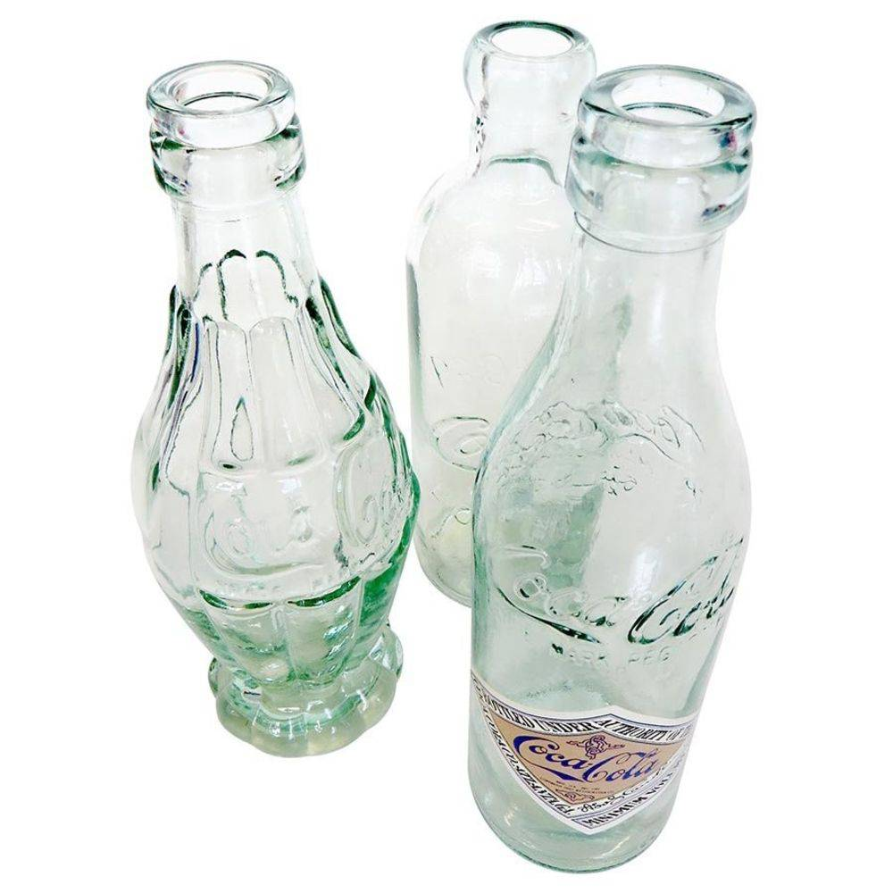 SET 3 GARRAFAS COCA COLA VIDRO BOTTLE EVOLUTION - RETRO - VINTAGE