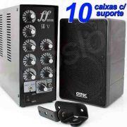Kit Som Ambiente Amplificador 5 setores + 10 caixas acústicas 32W com suporte