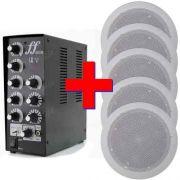 Kit Som Ambiente Amplificador 5 setores + 5 Arandelas 40W