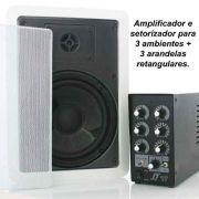 Kit Som Ambiente amplificador 3 setores + 3 Arandelas retangulares
