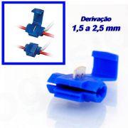 Conector de derivação azul emenda para cabos e fios 50 peças