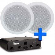 som ambiente amplificador 50W com 2 arandelas para ambientes até 50m2