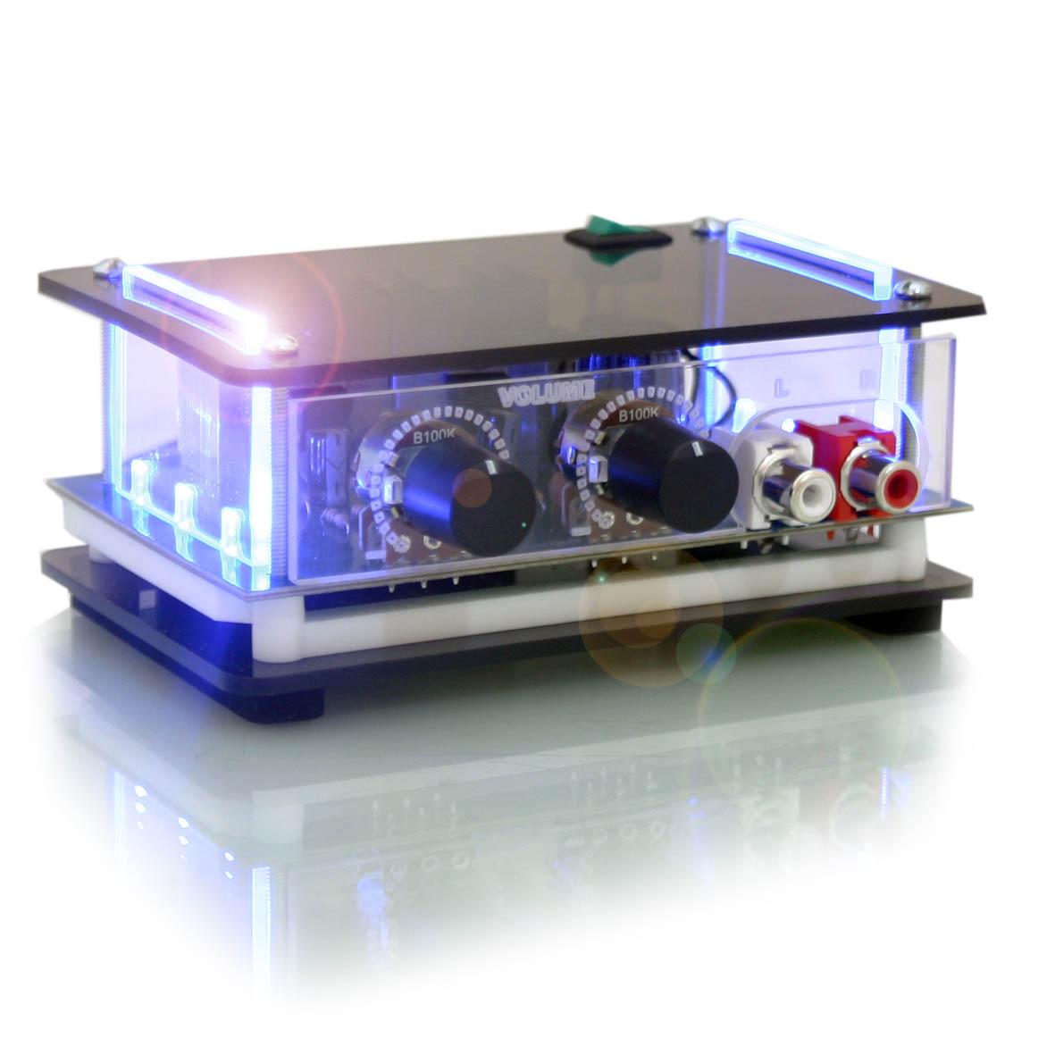 kit som ambiente mini amplificador estéreo e 2 arandelas redondas de embutir