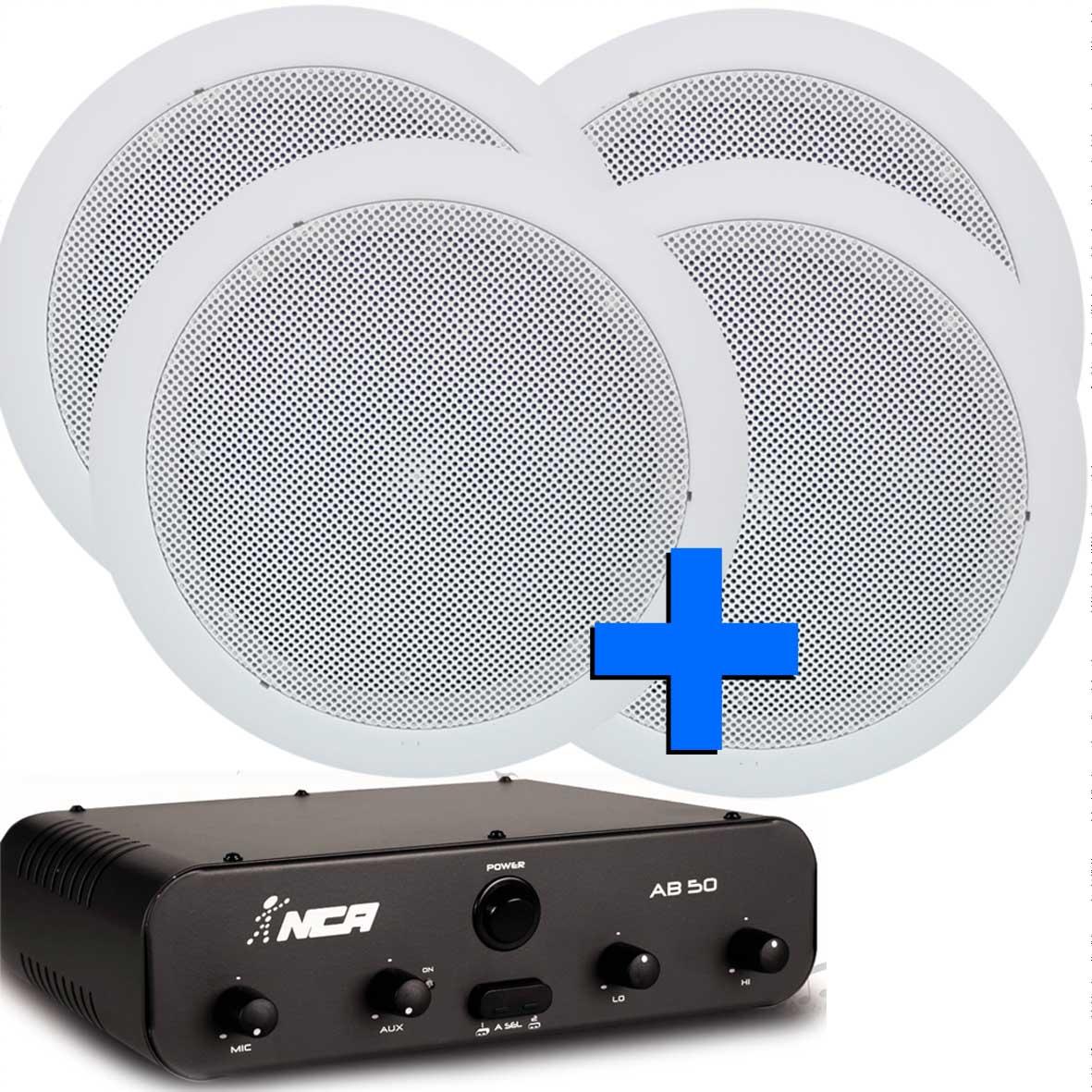 som ambiente amplificador 50W com 4 arandelas para ambientes até 100m2