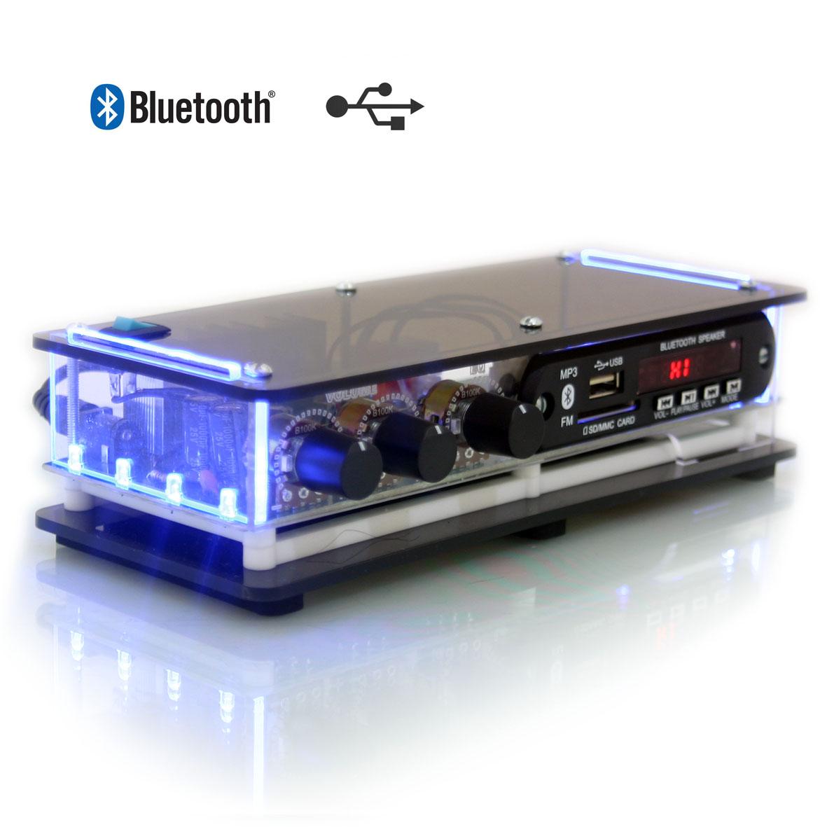 Kit som ambiente Mini amplificador Receiver USB FM Bluetooth e arandelas de embutir