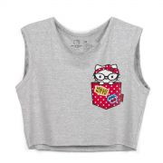 Blusa Cropped Feminina Hello Kitty Pocket