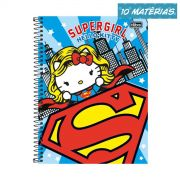 Caderno Hello Kitty DC Comics Supergirl 10 Matérias