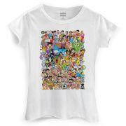 Camiseta Feminina Maur�cio de Sousa 80 Anos Colors