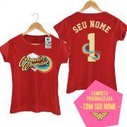 Camiseta Feminina Mulher Maravilha Logo Name