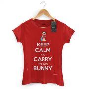 Camiseta Feminina Turma da M�nica Cool Keep Calm And Carry The Blue Bunny