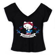 Camiseta Gola V Feminina Hello Kitty Retr�