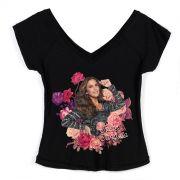 Camiseta Gola V Feminina Ivete Sangalo Veveta Flowers