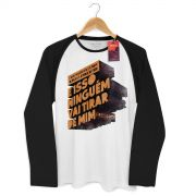 Camiseta Manga Longa Raglan Masculina Fresno Pensamento à Prova de Balas