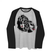 Camiseta Manga Longa Raglan Masculina Kiss Dressed to Kill