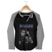 Camiseta Raglan Feminina 89 FM A R�dio Rock We Can Rock It!