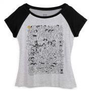 Camiseta Raglan Feminina Maurício de Sousa 80 Anos P&B