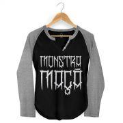 Camiseta Raglan Feminina Monstra Ma�� Skulls