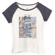 Camiseta Raglan Feminina Turma da M�nica Bidu Caminhos
