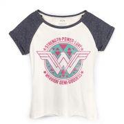 Camiseta Raglan Feminina Wonder Woman Warrior Demi-Goddess