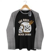 Camiseta Raglan Masculina 89 FM A R�dio Rock The Rock Never Ends