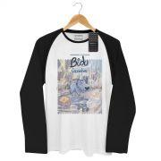 Camiseta Raglan Masculina Turma da Mônica Bidu Caminhos