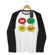 Camiseta Raglan Masculina Turma da Mônica Cool Ícones