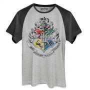 Camiseta Raglan Premium Masculina Harry Potter Brasão de Hogwarts