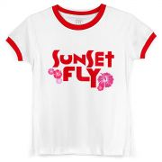 Camiseta Ringer Feminina Banda Fly Sunset Red