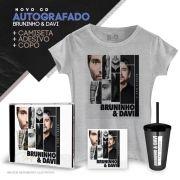 Combo CD AUTOGRAFADO Bruninho & Davi Depois das 3 + Camiseta Feminina