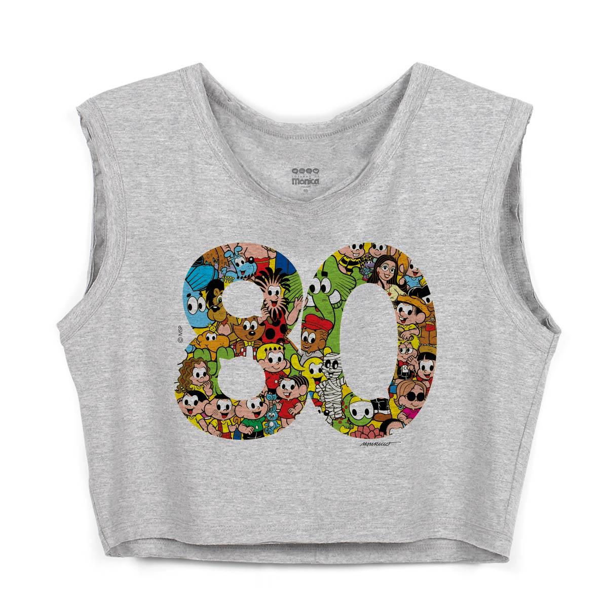 Blusa Cropped Maur�cio de Sousa 80 Anos Logo