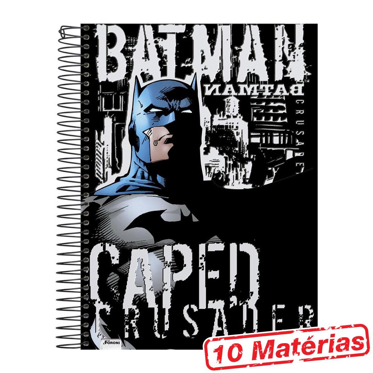 Caderno 10 Matérias Batman Caped Crusader