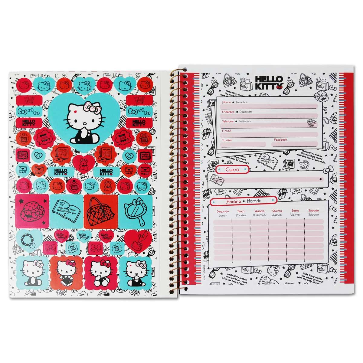 Caderno Hello Kitty Fashion Collors 1 Mat�ria