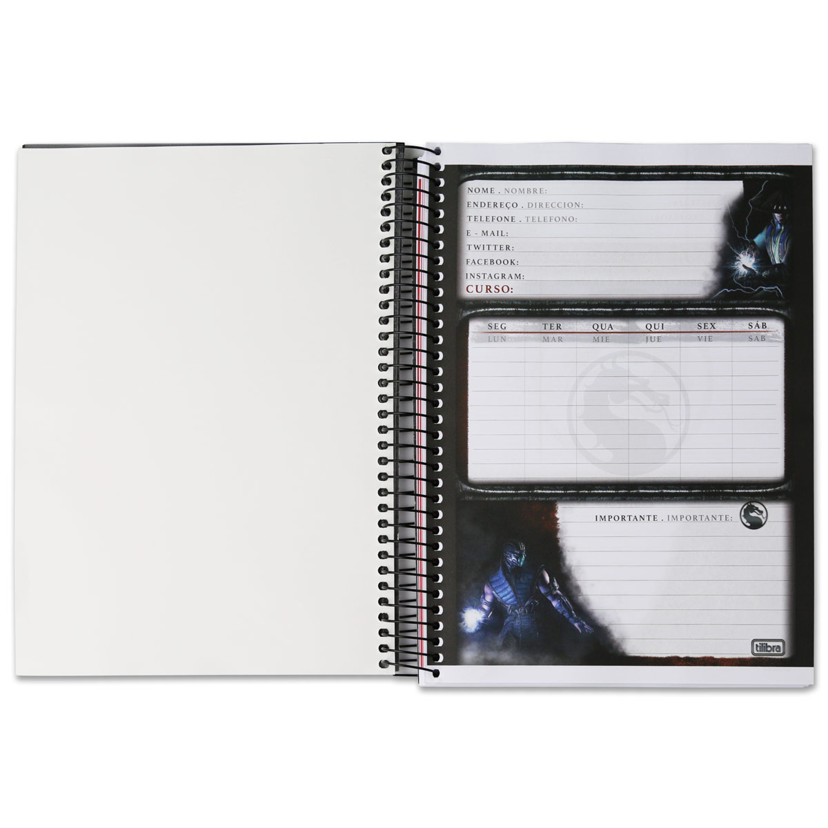 Caderno Mortal Kombat X Raiden 1 Matéria