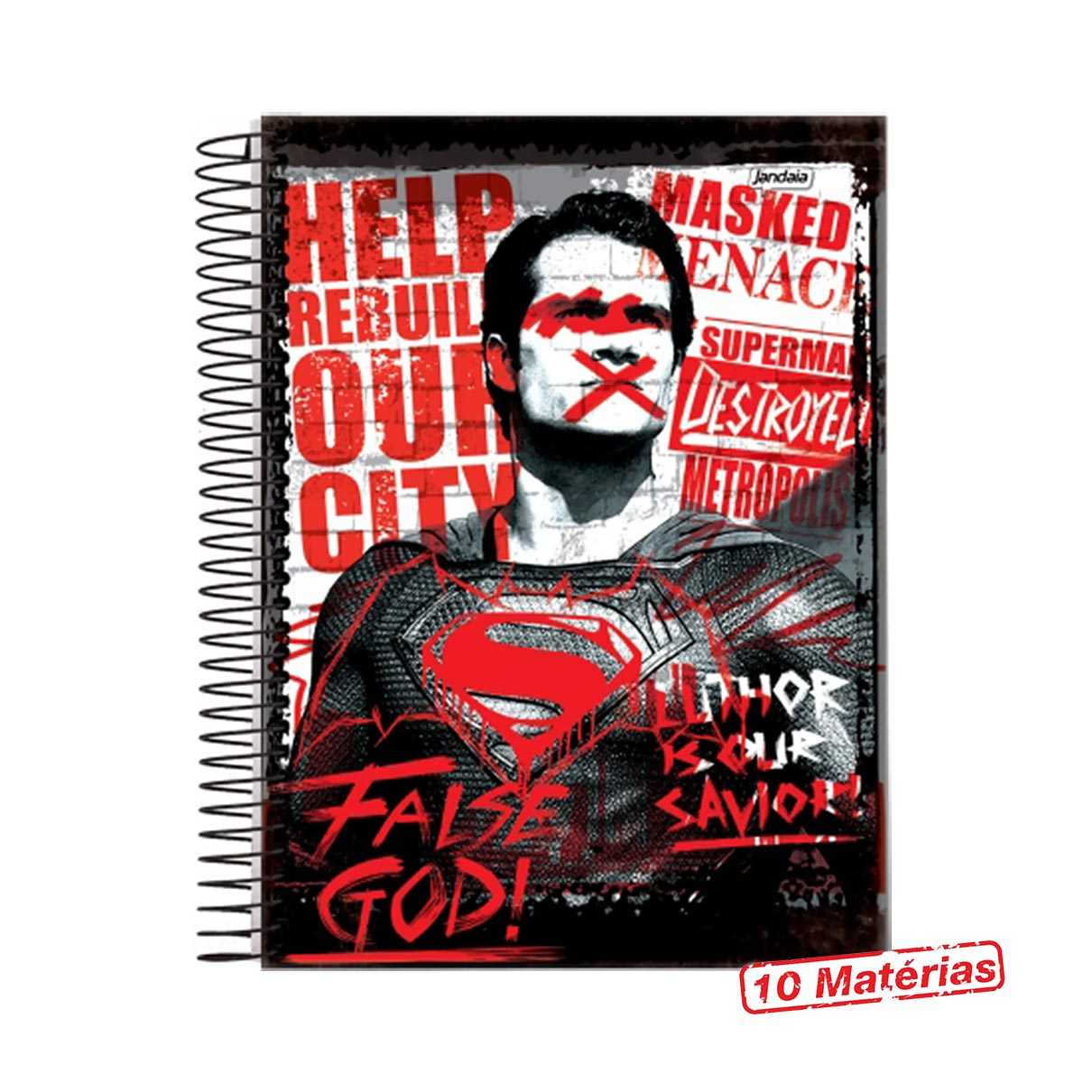 Caderno Batman VS Superman False God 10 Matérias