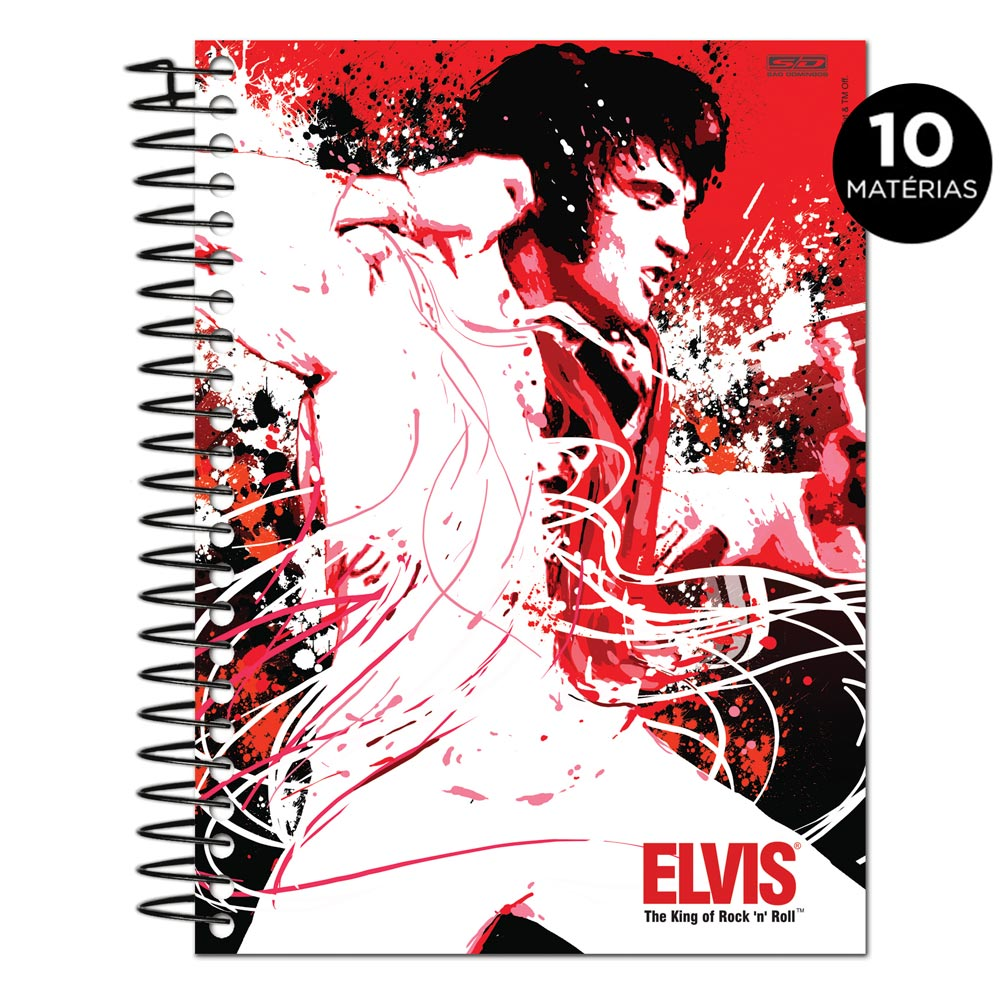 Caderno Elvis Presley The King Of Rock n� Roll Red 10 Mat�rias