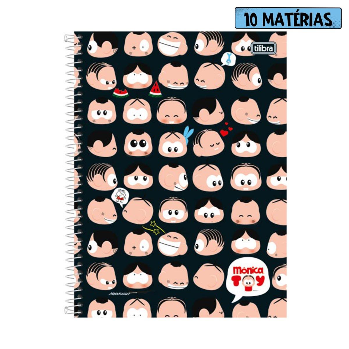 Caderno Turma da Mônica A Turma Toda Faces 10 Matérias