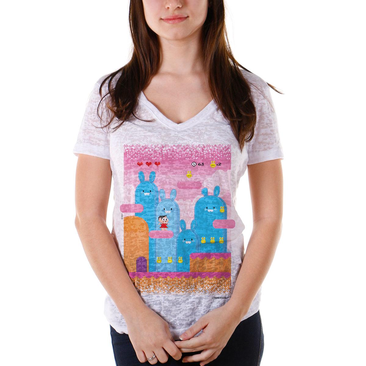 Camiseta Devorê Feminina Turma da Mônica Game