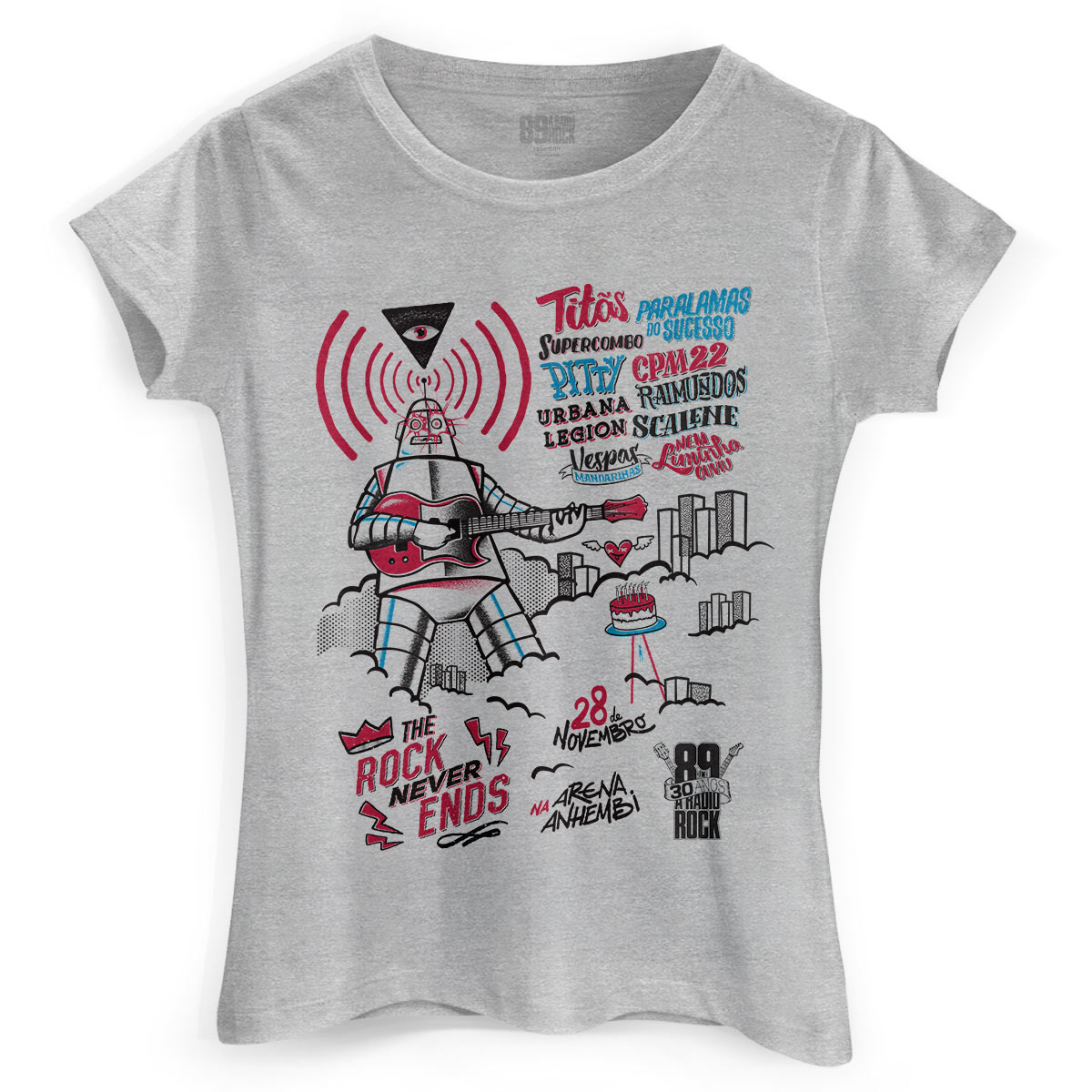 Camiseta Feminina 89FM A Rádio Rock 30 Anos Pôster Gray
