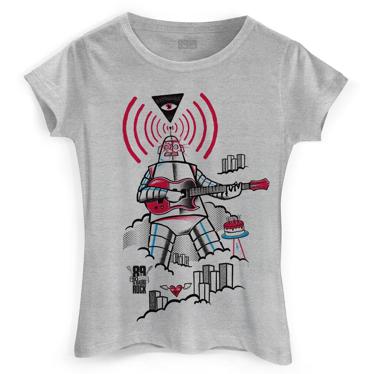 Camiseta Feminina 89FM A Radio Rock 30 Anos Robot