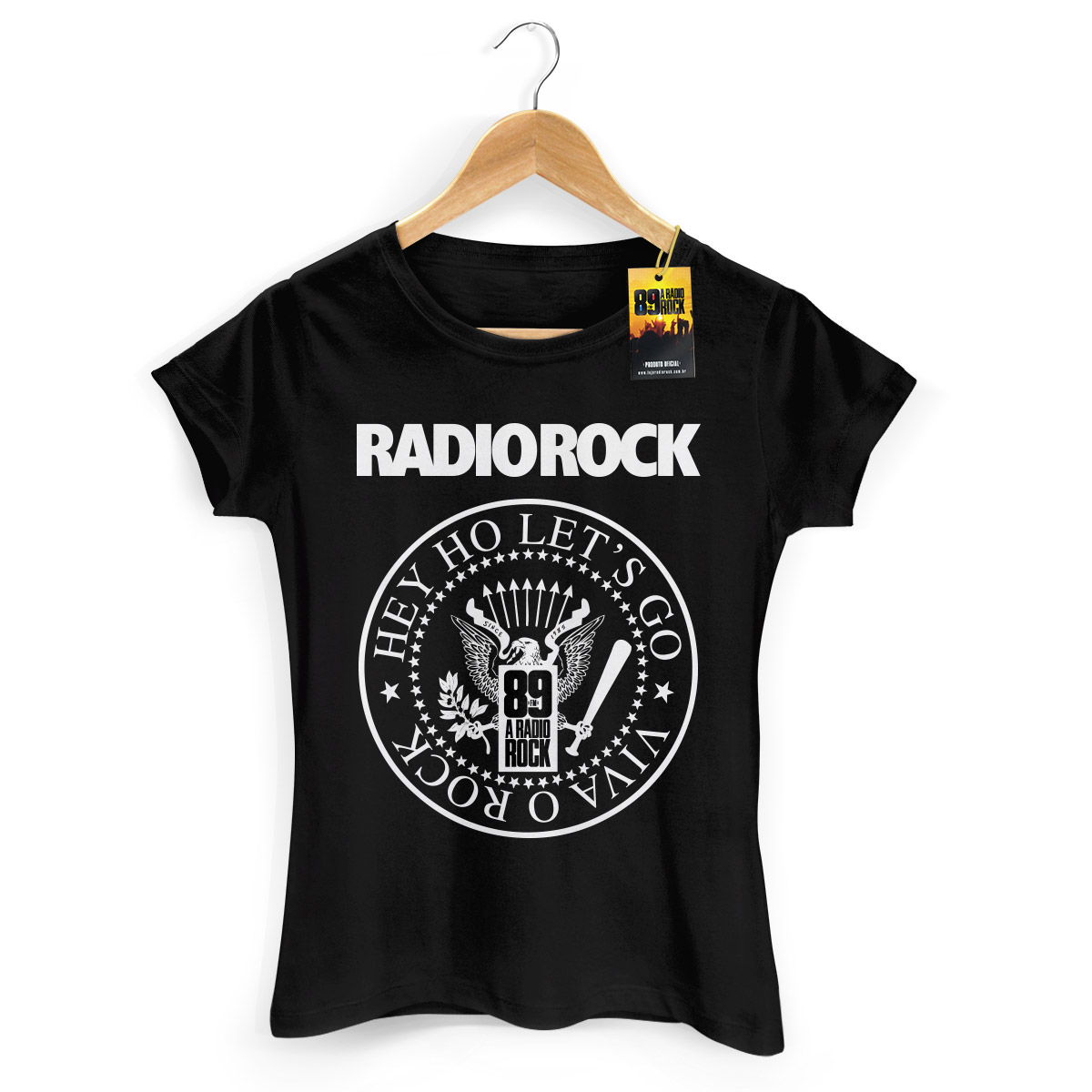 Camiseta Feminina 89FM A R�dio Rock Hey Ho Viva o Rock!