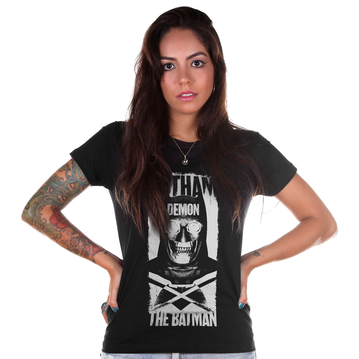 Camiseta Feminina Batman VS Superman Gotham Demon