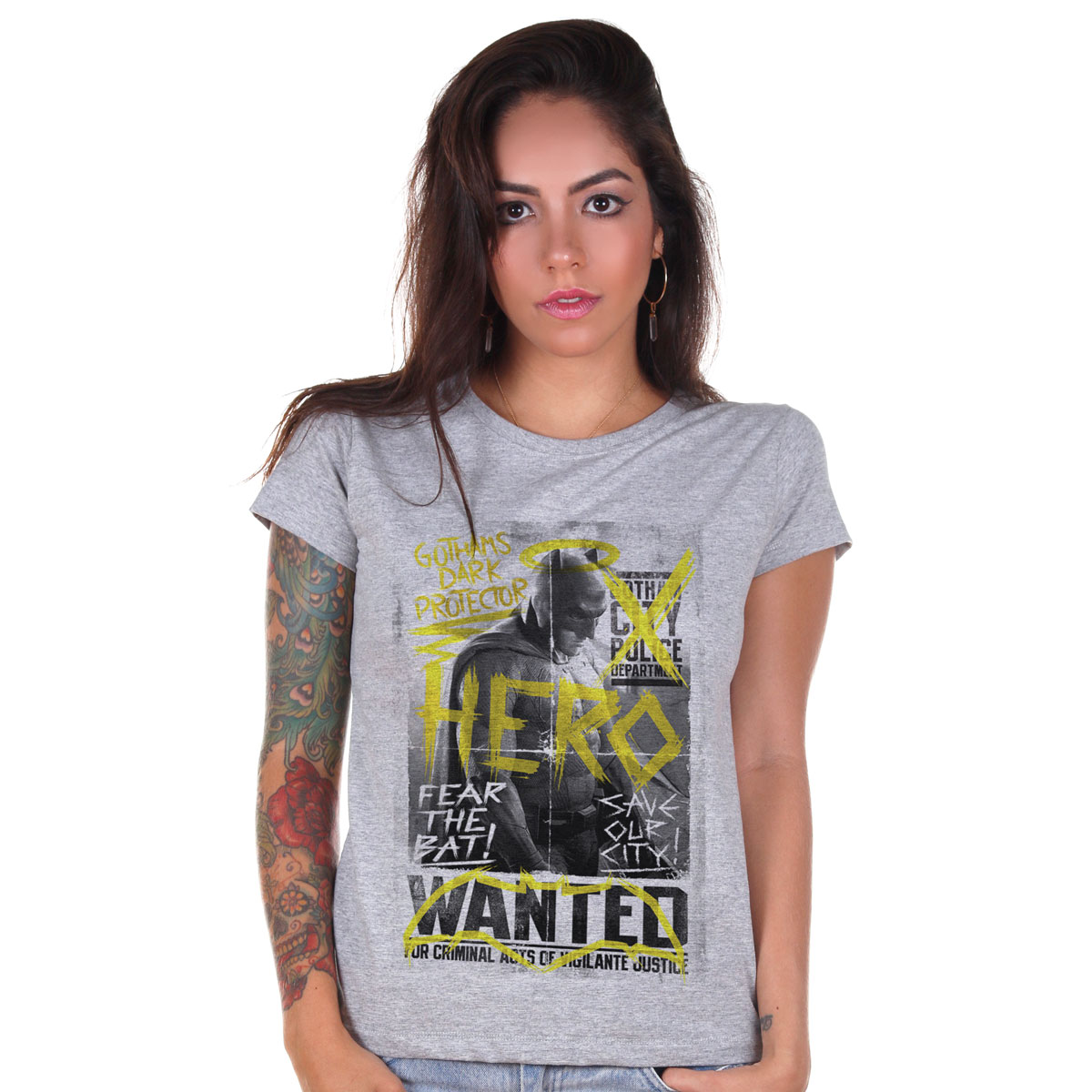 Camiseta Feminina Batman VS Superman Hero Wanted