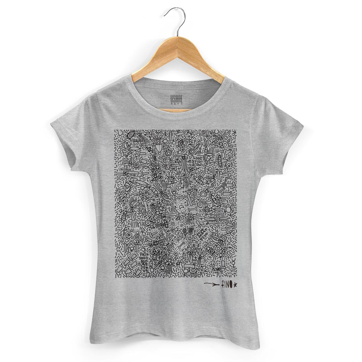 Camiseta Feminina Fino Farofa de Religião Gray