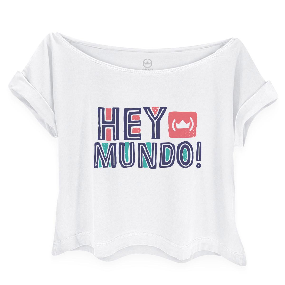 Camiseta Feminina Gola Canoa Thiaguinho Hey Mundo Logo
