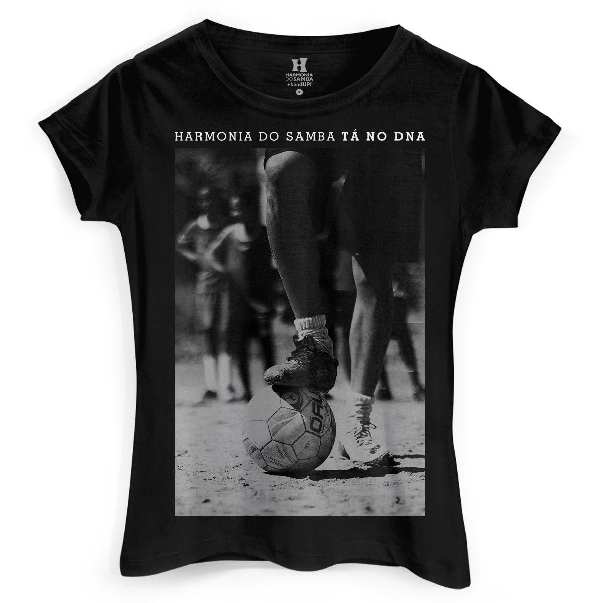 Camiseta Feminina Harmonia do Samba Tá no DNA Futebol