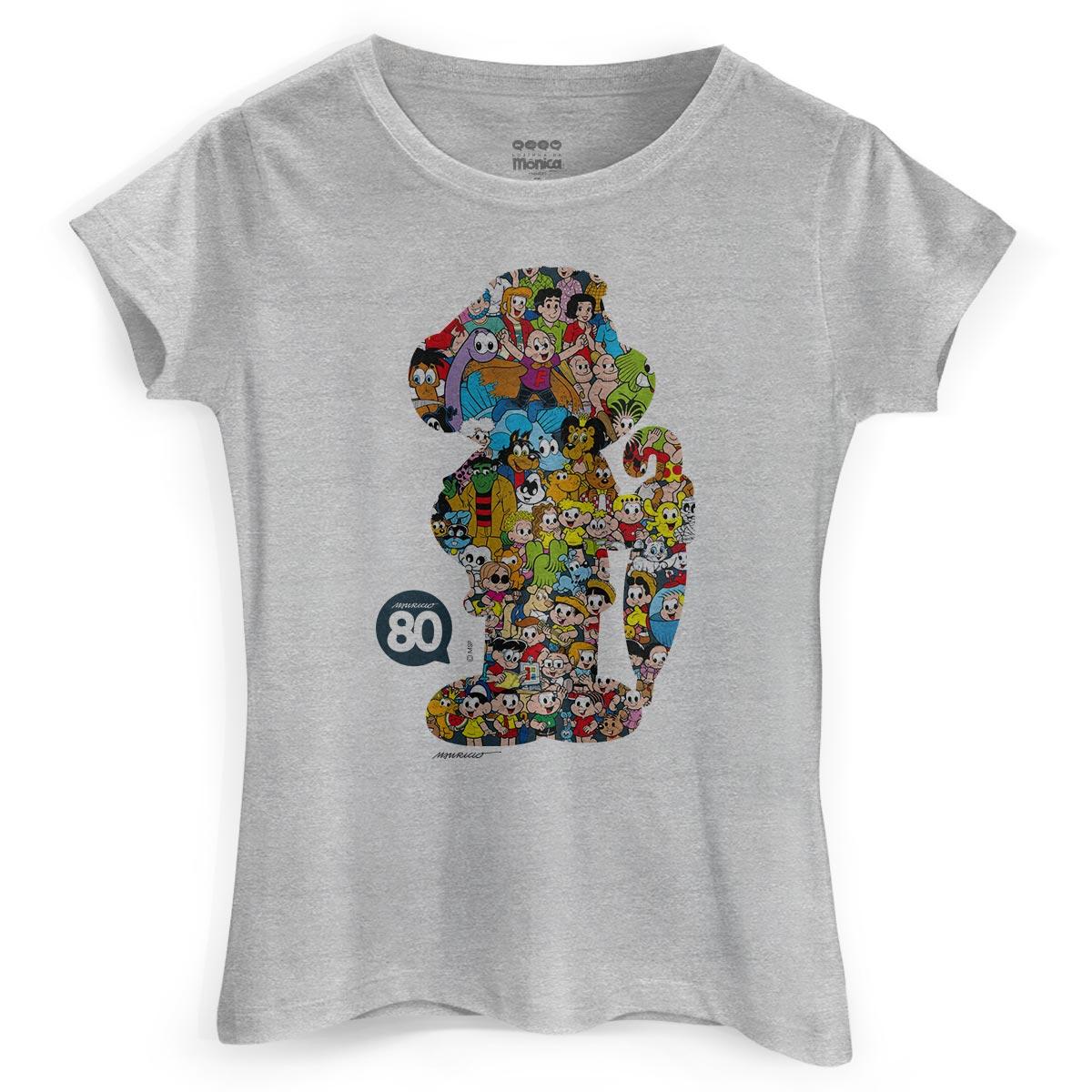 Camiseta Feminina Maur�cio de Sousa 80 Anos Casc�o
