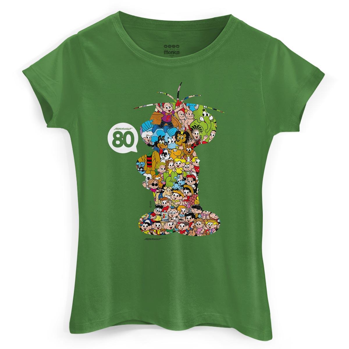 Camiseta Feminina Maur�cio de Sousa 80 Anos Cebolinha